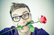 crazy romantic man with a rose