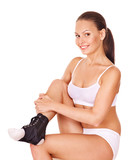 Woman with ankle brace. poster