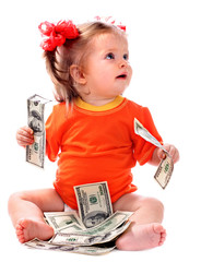 Child with euro money. How much it costs to have baby?