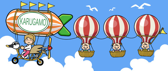 Balloon and Spotbill duck