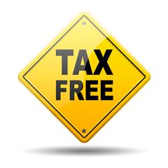 Señal amarilla texto TAX FREE