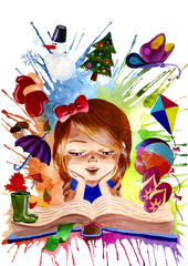 girl reading a book about seasons