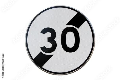 Panneau de fin de limitation de vitesse à 30 km/h