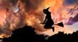 Leinwanddruck Bild - Flying witch on broomstick