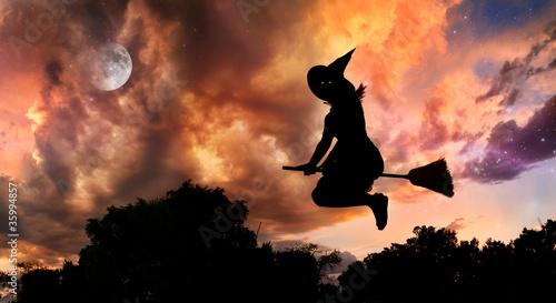 Leinwandbild Motiv Flying witch on broomstick
