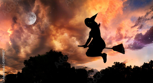 Leinwanddruck Bild Flying witch on broomstick