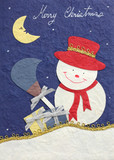 papercraft merry christmas snowman and moon