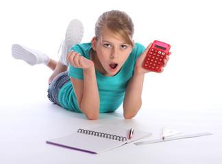 School girl math homework education surprise