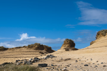 Landscape, Sand dunes, Wind sculped, Traigh Mhor beach
