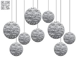 Christmas balls and qr code 'merry christmas'