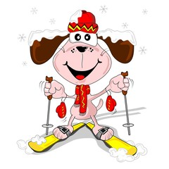A cartoon dog with skis skiing in the snow