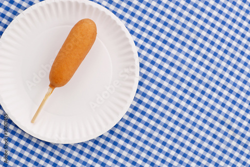 Corn Dog Snack on Paper Plate