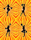 Set of Four Cheerleader Backgrounds! Vector / Clip Art / Eps 8