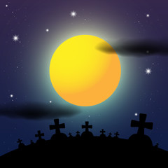 Cemetery Night Halloween Illustration
