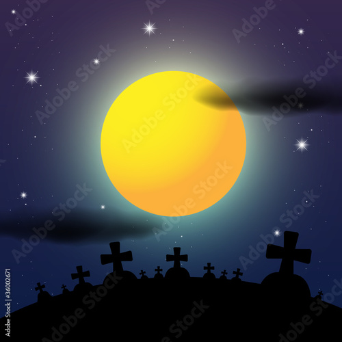 Leinwandbild Motiv Cemetery Night Halloween Illustration