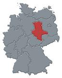 mapa německa, sasko-anhaltsko zvýrazněné