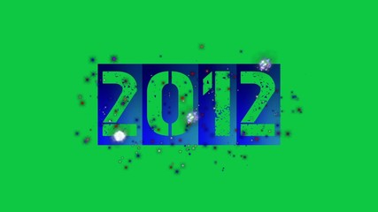 2012 new year with fireworks (greenscreen)