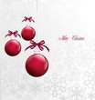 Red Christmas Balls on Christmas card. Vector