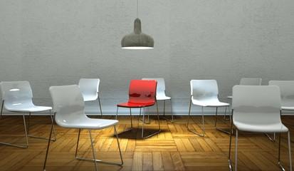 Wohndesign - roter Stuhl