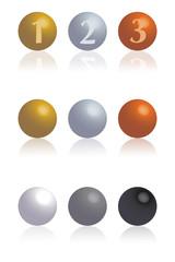 esferas oro plata bronce