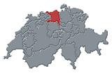 mapa swizerland, aargau zvýrazněny