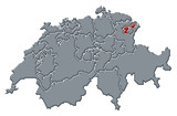 mapa swizerland, appenzell ausserrhoden zvýrazněny