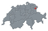 mapa swizerland, appenzell innerrhoden zvýrazněny