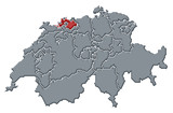 mapa swizerland, basilej-venkov zvýrazněny