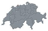 mapa swizerland, basilej-město zvýrazněny