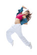 slim hip-hop style woman dancer break dancing