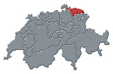mapa swizerland, thurgau zvýrazněny