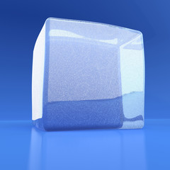 White ice cube on a blue reflecting background