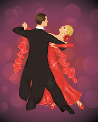 Couple is tango dancing on the purple background.