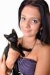 belle femme avec chat