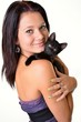 riant femme ave son chat