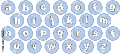 Font with lower case letters in bubbles