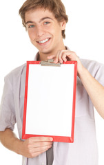 young man with blank clipboard, white background, series