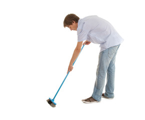 cleaning young man with blue sweep brush