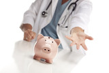 Demanding Doctor Reaches Palm Out Behind Piggy Bank