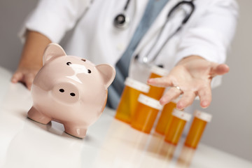 Doctor Reaches Palm Out Behind Medicine Bottles and Piggy Bank