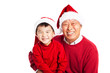 Asian grandfather celebrating Christmas with grandson