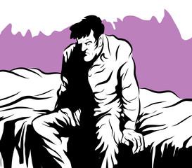 Insomnie homme malade assis sur son lit