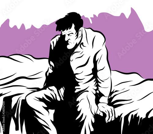 insomnie homme malade assis sur son lit photo libre de droits sur la banque d 39 images fotolia. Black Bedroom Furniture Sets. Home Design Ideas