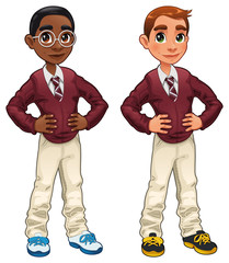 Students. Cartoon and vector isolated characters.