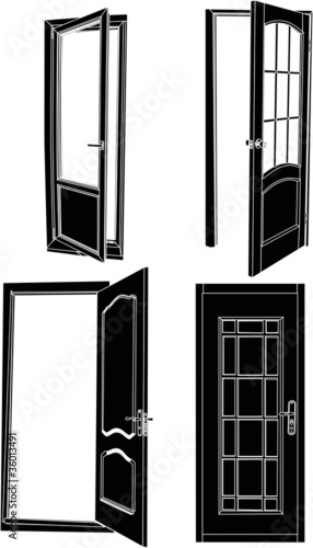 four black isolated doors