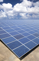 Solar Panels with cloud sky backgrounf