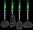 Kitchen utensils on black