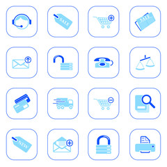 Sale and shopping icons - blue series