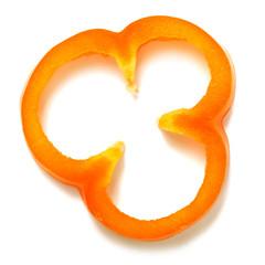 Orange pepper slice isolated on white background