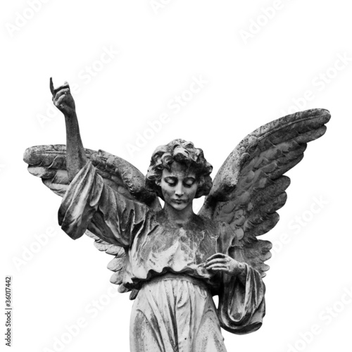 Winged angel statue isolated on white background.